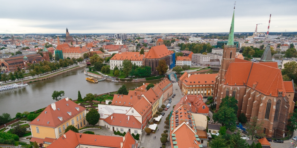 Aerial view of Wroclaw. Old Town and Cathedral Island is the oldest part of the city.